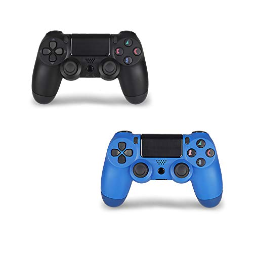 2 Pack Wireless Controller for PS4 Remote for Sony Playstation 4 with 2 Pack Charging Cable, Wave Blue + Jet Black