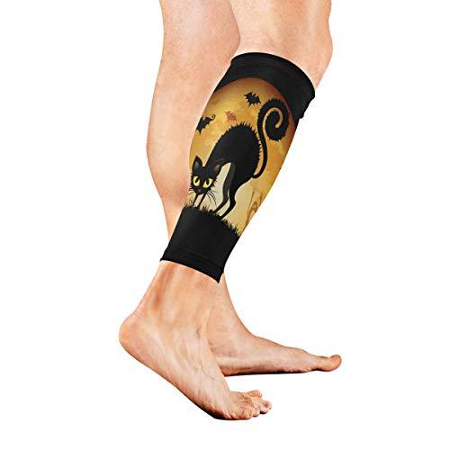 Leg Sleeve Halloween Cartoon Cat Wallpaper Calf Sleeves 1 Pair for Men/Women Running/Cycling/Maternity/Travel/Ourdoor -