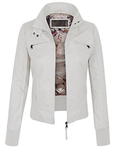 KOGMO Womens Faux PU Leather Quilted Zip Up Casual Bomber Jacket-S-WHITE