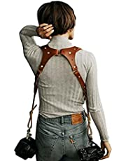 Camera Accessories Dual Harness Two Cameras Leather Buckles Adjustable Shoulder Strap Holder Holster DSLR Multi Accessories (One Size, 94-Brown(Dual Shoulder))