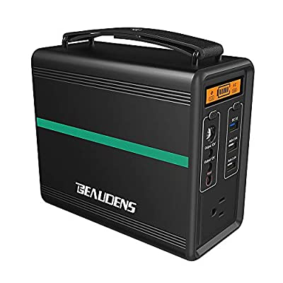 BEAUDENS Portable Power Station, Lithium Iron Phosphate Battery, 2000 Cycles, 10 Years Life, 166Wh 110V/150W AC Outlet, Solar Generator for Outdoors Camping Travel Fishing Emergency Backup