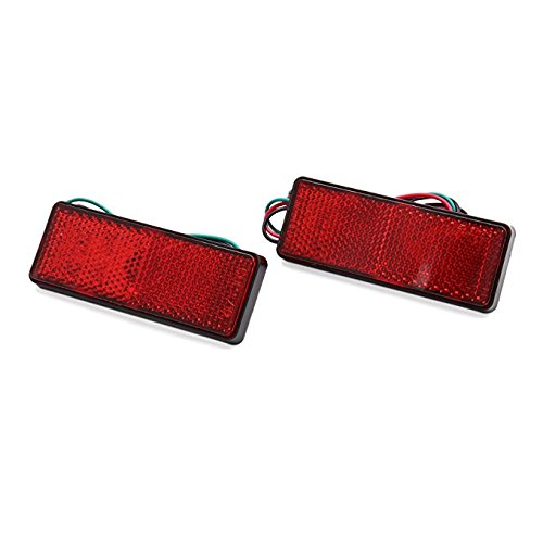 DishyKooker 2Pcs LED Square Motorcycle Scooter Reflector Tail Brake Turn Signal Light Lamp (Red Light)