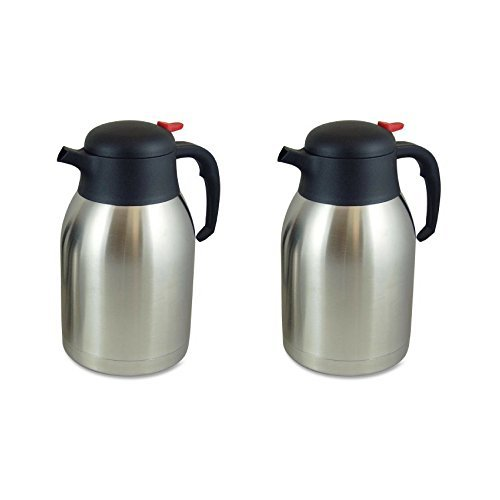 Genuine Joe GJO11956 Stainless Steel Everyday Double Wall Vacuum Insulated Carafe, 2L Capacity - 2 Packs