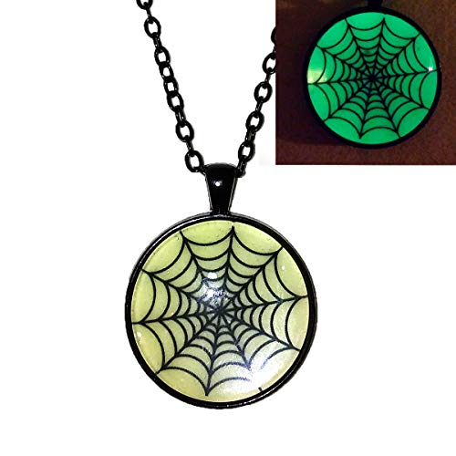 Glow in the dark Spider Web - Necklace - Halloween - HM ()