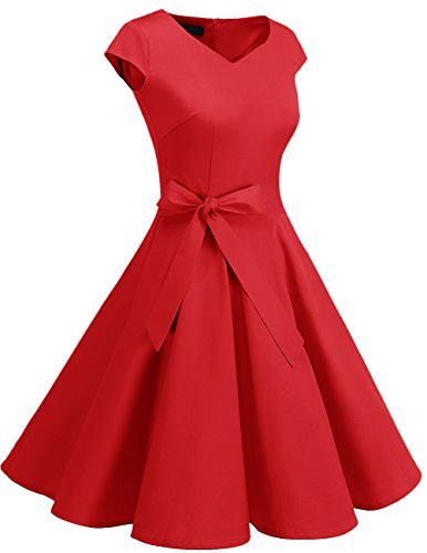 Mangas Vintage Cortas Retro Vestido reg;Mujer Con Corto Dresstells Red 1950s wn8XI0xq84