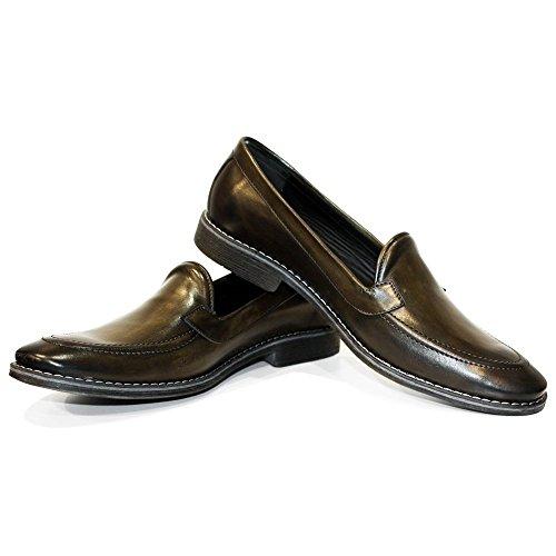 PeppeShoes Modello Slipono - Handmade Italiano da Uomo in Pelle Verde Mocassini e Slip-On - Vacchetta Pelle Verniciata a Mano - Scivolare su