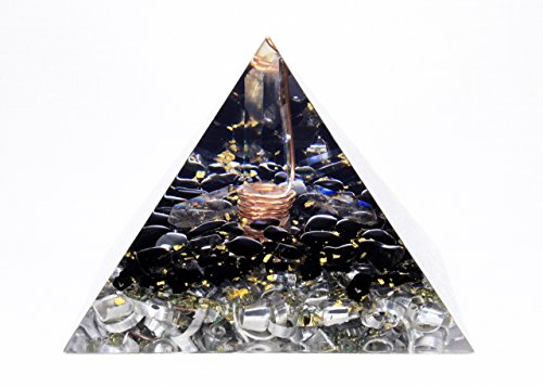 (Orgonite Orgone Pyramid - Energy Generator - EMF Protection - Crystal Gemstone - Obsidian Quartz Tourmaline - Large & Powerfull! Add Yours to Cart Now!)