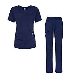 Adar Indulgence Jr. Fit Women's Scrub Set - Enhanced V-neck Topmulti Pocket Pants - 4400 - Navy - Xs
