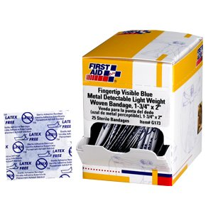 Fingertip Bandage, Blue Metal Detectable Woven - 25 per box ()