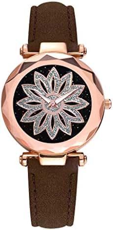 Ultramall BC22 Sleek Minimalist Flower Rotating Dial Belt Ladies Quartz Watch Gift