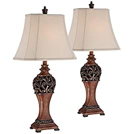 Exeter Traditional Table Lamps Set of 2 Bronze Woo...