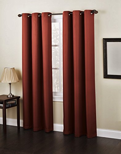 Window Curtain Foam Lined blackout thermal treatment Red wine - 8