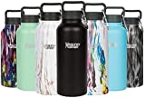Healthy Human Insulated Stainless Steel Water Bottle Stein - Cold 24 Hours/Hot 12 Hours - Double Walled Vacuum Flask with Hydro Guide & Carabiner - 32 oz Pure Black