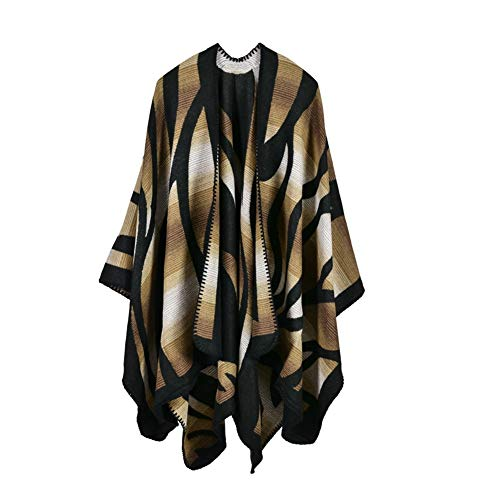 Women Winter Knitted Cashmere feeling Poncho Capes Plus Size Shawl Cardigans Sweater Coat