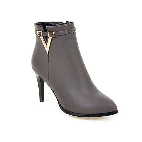 BalaMasa Ladies Metal Ornament European Style Zipper Imitated Leather Boots Gray gTDWy