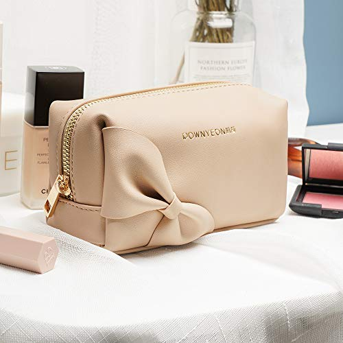Rownyeon Small Makeup Bag Handy Travel Cosmetic Toiletry Pouch Bow-knot Cute Handbag Leather Purse for Women Girls(Light Brown,Small)