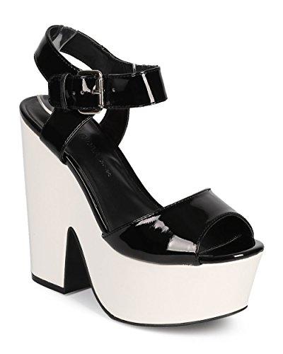 Wild Diva Women Patent Peep Toe Retro Chunky Heel Platform Sandal DH90 - Black (Size: 7.5)