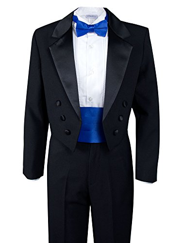 Spring Notion Boys' Black Classic Tuxedo with Tail Royal Blue 8 by Spring Notion