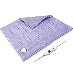 "King Size Heating Pad XXXL, 24"" x 24"" 2 Sides Ultra Soft Flannel Electric Heating Pad with Auto Shut Off, Extra Large for Cramp, Back Pain Relief, Machine Washable, 10Ft Cord, Dry/Moist, Purple"