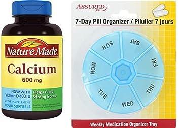 Naturaleza hecha de calcio con vitamina D3--600 mg 100 cápsulas líquidas (paquete