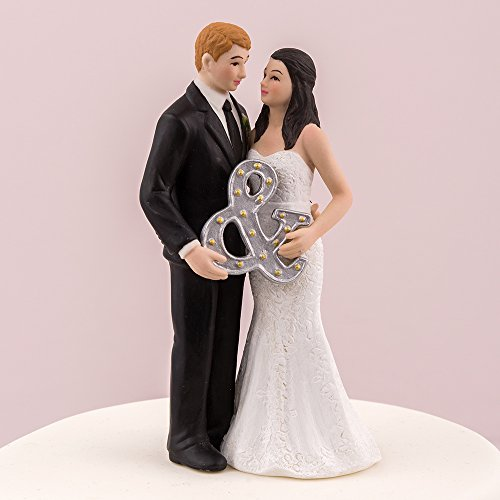 Mr. & Mrs. Porcelain Figurine Wedding Cake Topper With -