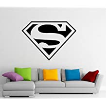 Superman Logo Wall Decal Wall Vinyl Sticker DC Comics Superhero Interior Home Art Wall Murals Bedroom Home Decor (2su01n)