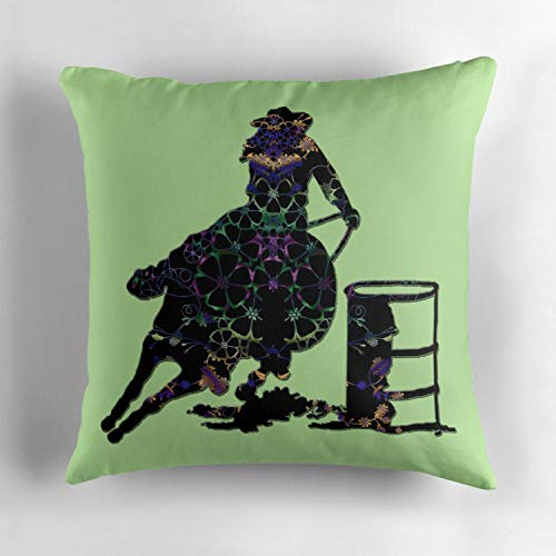 - Biekxrso Floral Barrel Racer Female On Green Square Cotton Decorative Throw Pillow Case Cushion Cover Pillowcase for Sofa 18 x 18 Inch
