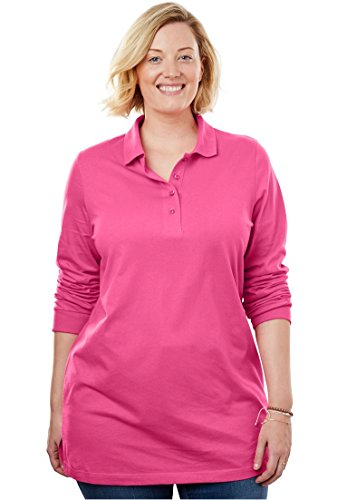 Women's Plus Size Perfect Long Sleeve Polo Tunic Pink (Long Sleeve Ribbed Polo Shirt)