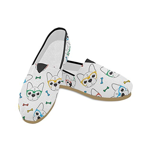 Womens Canvas Pug on Cute Flats Shoes Sunglasses Sneakers Slip Classic Loafers Fashion D Story SwqYPf0Y