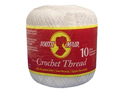Coats Crochet South Maid Crochet, Cotton Thread Size 10, White