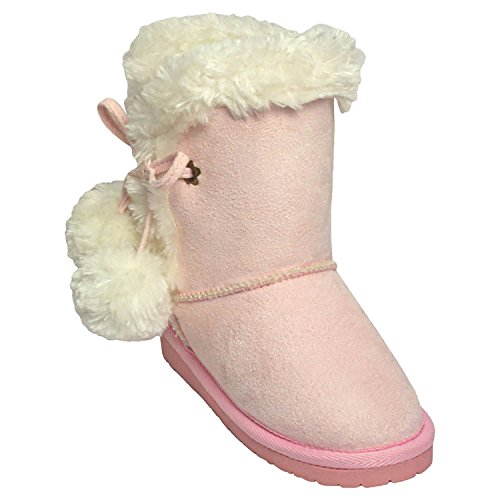 DAWGS Girls' Side Tie Boots, Pink, 13 B(M) US (Girls Faux Fur Boots)