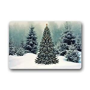 Lovelife Custom Let It Snow Navidad pino árbol felpudos cubierta antideslizante lavable a máquina interior y exterior para cuarto de baño decoración de la cocina alfombra
