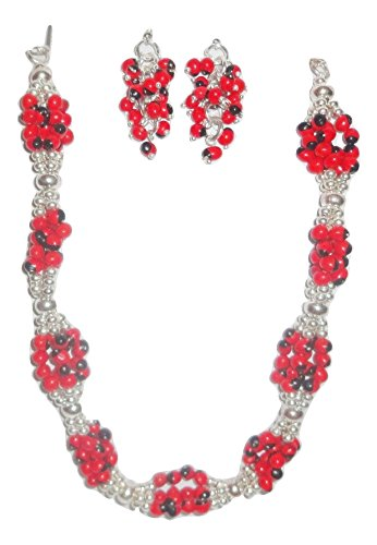 - Peruvian Huayruro Beaded Silver Platted Necklace and Earrings Set
