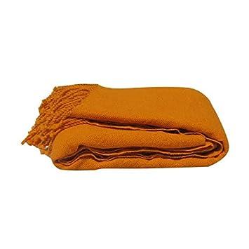 Hermès Pure CouverturePlaidJeté 200x200cm Large Laine Orange W9HIED2