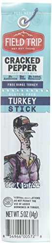 Cow Naked (Field Trip Gluten Free, High Protein, Cracked Pepper Turkey Jerky Stick, 0.5oz, 24 Count)