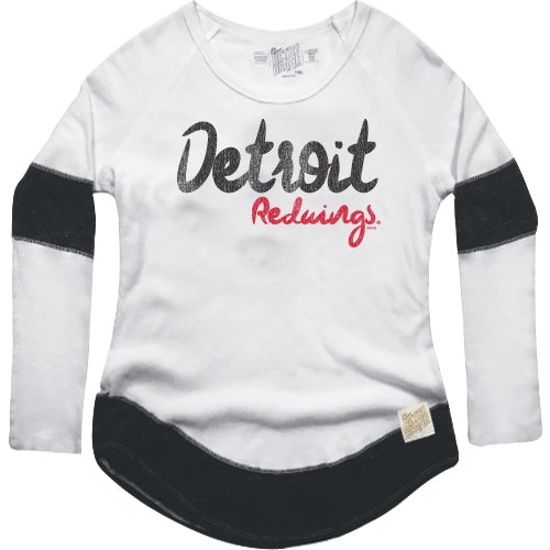 NHL Detroit Red Wings Women's Boyfriend Thermal Top, Large, White/Black Red Nhl Shirt