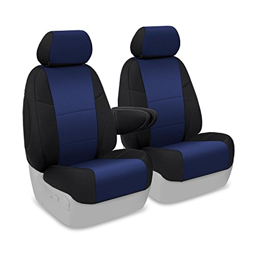 Coverking Custom Fit Front 50/50 Bucket Seat Cover for Select Honda Element Models - Neosupreme (Navy Blue with Black Sides)