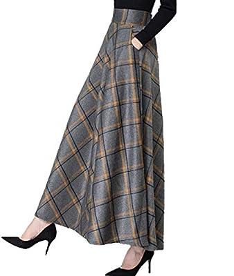 Femirah Women's Vintage Plaid High Waist A-Line Fall Winter Maxi Wool Skirt