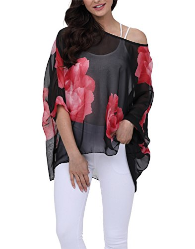 Nicetage Women Casual Batwing Blouse High-Low Hem Loose Tops 4283