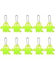 Happyyami 10 Stuks Halloween Ghost Hangers Reflecterende Keycahin Hangers Super Heldere Kralen Sleutelhanger Reflector Voor Tassen Kinderwagens Rolstoel Kleding Rugzak Mobiele Telefoon
