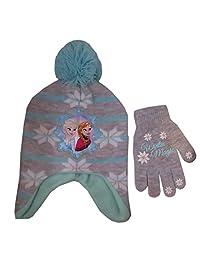Disney Girls Frozen Winter Hat and Matching Glove / Mitten - Sizes Toddler/Little kids
