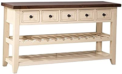 5-Drawers Wine Rack Hall Table in Country White