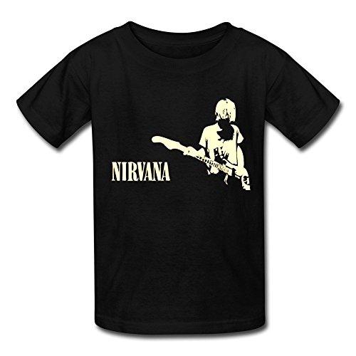 ZIYUAN Kid's Geek Nirvana Hard Rock Kurt Cobain T-shirts M Black