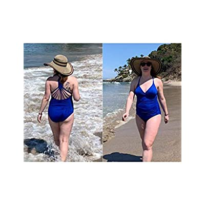 Hilor Women's Shirred Halter One Piece Swimsuits Macrame Back Swimwear Tummy Control Bathing Suit at Women's Clothing store