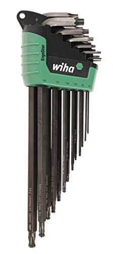 WIHA 36689    ErgoStar Torx Ball End and Standard L-Key Set T5-T45 in Automatic Fast Open Holder, 13-Piece