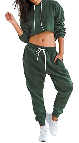 WorkTd Women's Crop Top Hoodie Pant 2 Pcs Sweatsuit Set Sports Outfit Green (2 Piece Hooded Sweatsuit Pants)