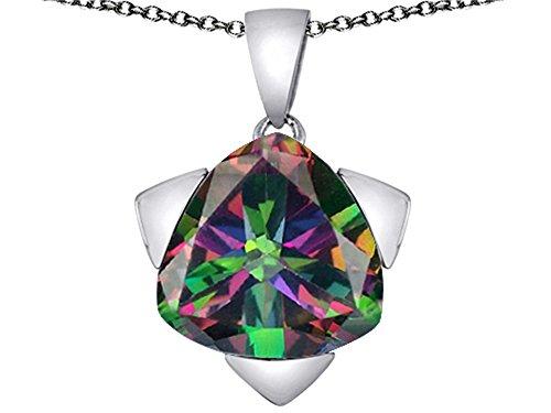 15mm Pendant Trillion (Star K Large 15mm Trillion Star Pendant Necklace with Rainbow Mystic Quartz Sterling Silver)