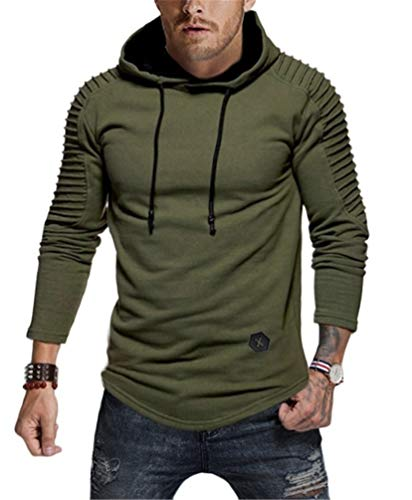 Nicetage Men's Pullover Hoodie Pleated Raglan Long Sleeve Hooded T-Shirt Slim Fit Sweatshirt (HS80-Man ArmyGreen XL)