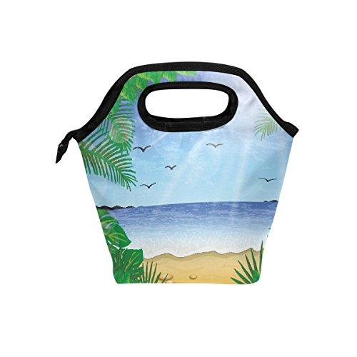 Bolsa térmica para el almuerzo con diseño de gaviotas de la playa con cremallera, para hombres, mujeres, adultos, niños y niñas
