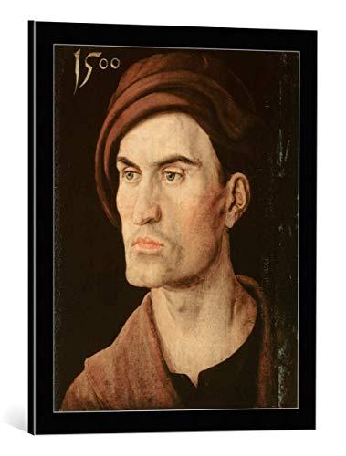 kunst für alle Framed Art Print: Albrecht Dürer Bildnis eines Jungen Mannes - Decorative Fine Art Poster, Picture with Frame, 19.7x23.6 inch / 50x60 cm, Black/Edge Grey